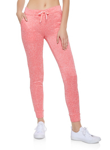 Fleece Lined Two Pocket Joggers,CORAL,large