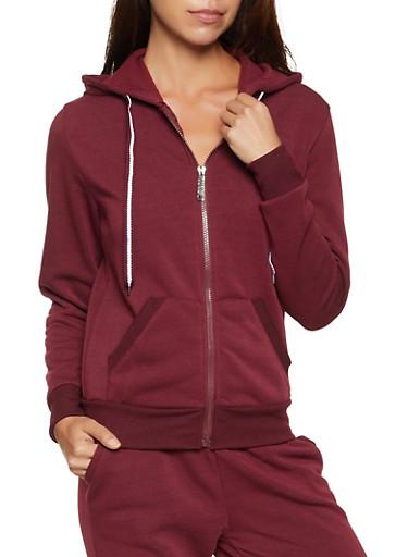 Solid Zip Front Hooded Sweatshirt,BURGUNDY,large