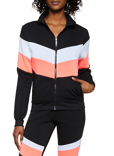 Love Zipper Color Block Sweatshirt,BLACK,large