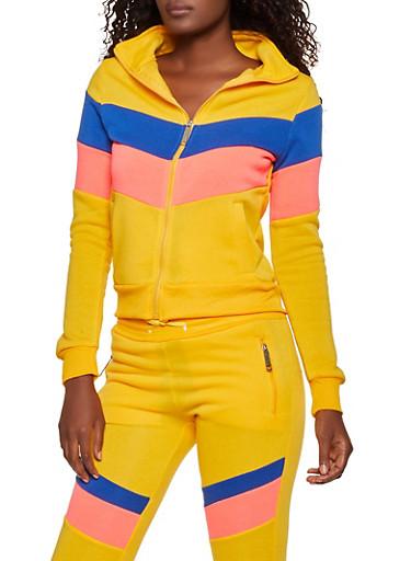 Love Zipper Color Block Sweatshirt,MUSTARD,large