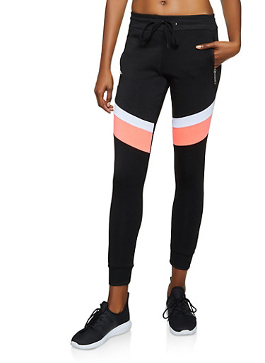 Love Zipper Color Block Joggers,BLACK,large
