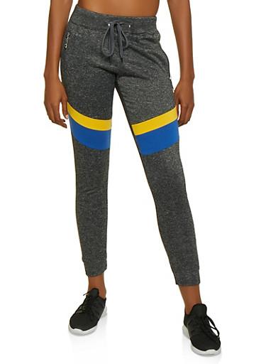 Love Zipper Color Block Joggers,CHARCOAL,large