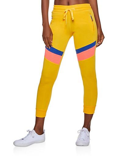 Love Zipper Color Block Joggers,MUSTARD,large