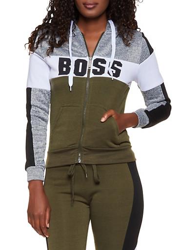 Boss Color Block Sweatshirt,OLIVE,large