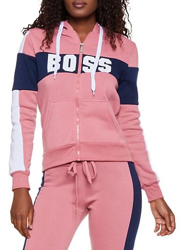 Boss Color Block Sweatshirt,MAUVE,large