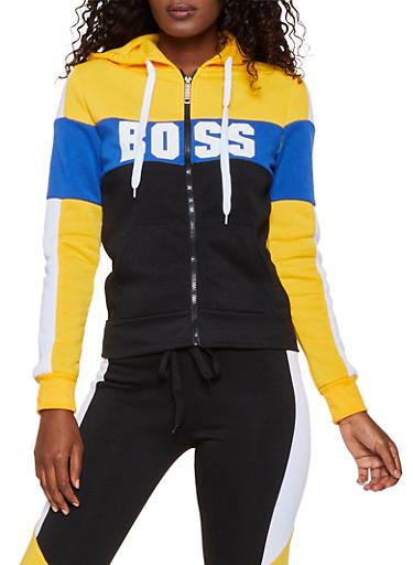 Boss Color Block Sweatshirt,MUSTARD,large