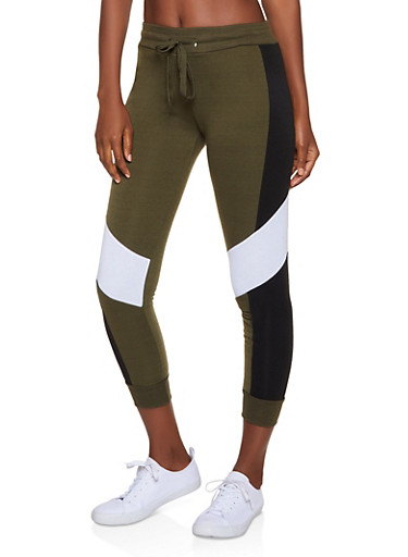 Fleece Lined Color Block Joggers,OLIVE,large