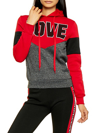 Love Color Block Pullover Sweatshirt,RED,large