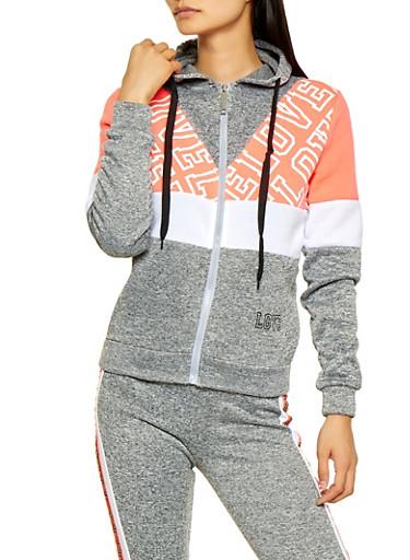 Love Color Block Fleece Zip Sweatshirt,CORAL,large