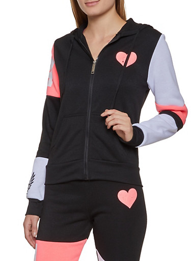 Heart Zip Up Sweatshirt,BLACK,large