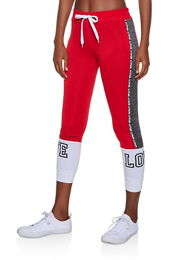 Marled Royalty Graphic Tape Sweatpants,RED,large
