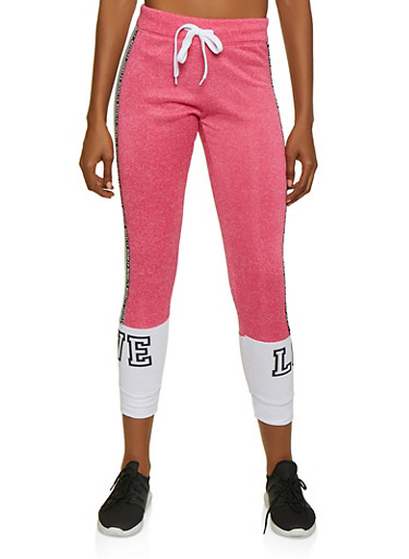 Marled Royalty Graphic Tape Sweatpants,PINK,large