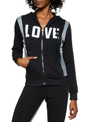 Fleece Lined Love Hooded Sweatshirt,BLACK,large