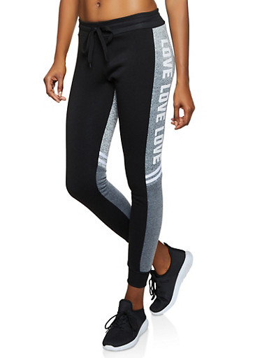 Love Color Block Joggers,BLACK,large
