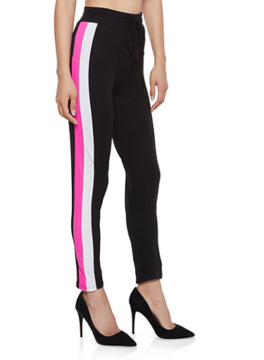 Side Stripe Drawstring Waist Leggings,BLACK,large