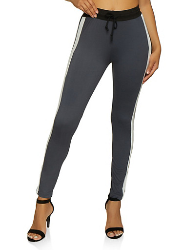 Striped Detail Drawstring Active Pants,GRAY,large