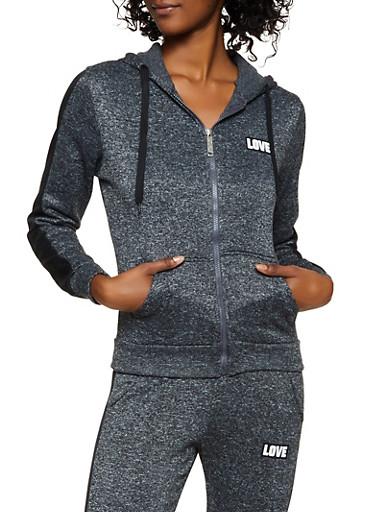 Sequin Love Zip Front Sweatshirt,CHARCOAL,large