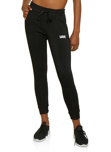 Love Jersey Mesh Detail Joggers,BLACK,large