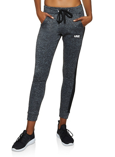 Love Jersey Mesh Detail Joggers,CHARCOAL,large