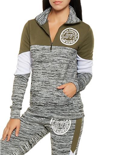 Graphic Half Zip Sweatshirt,OLIVE,large