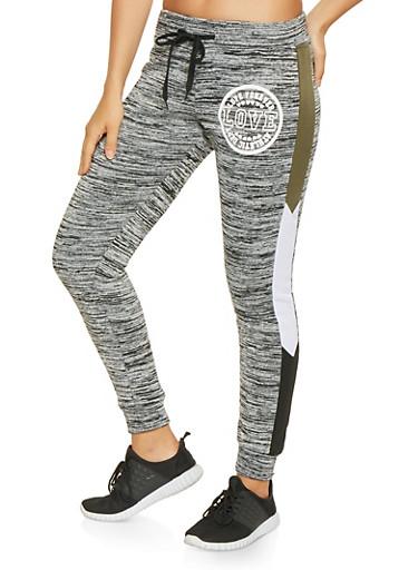 Graphic Color Block Trim Sweatpants,OLIVE,large