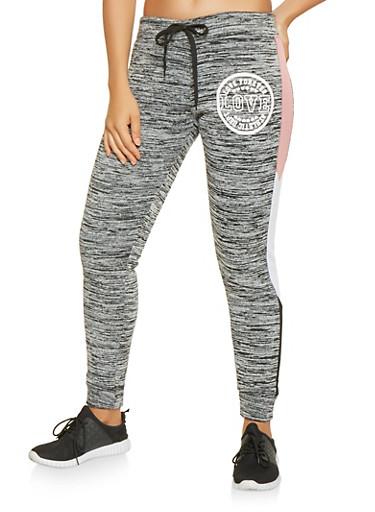 Graphic Color Block Trim Sweatpants,MAUVE,large
