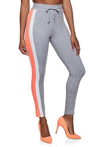 Color Block Drawstring Waist Leggings,GRAY,large