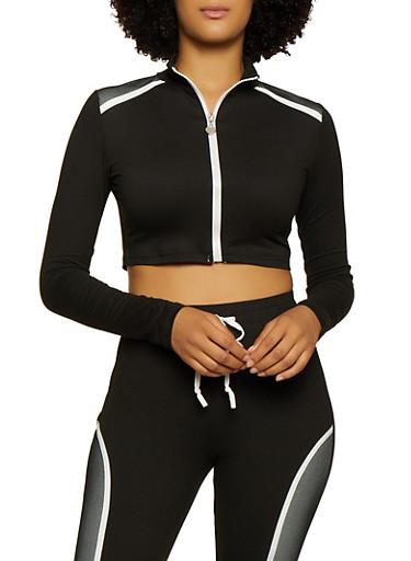 Mesh Detail Cropped Zip Top,BLACK/WHITE,large