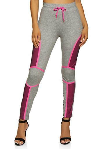 Mesh Detail Drawstring Active Pants,FUCHSIA,large