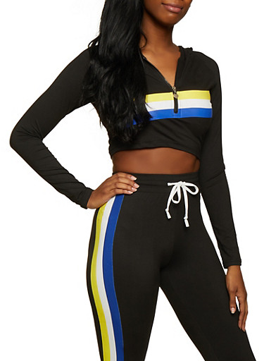 Hooded Color Block Striped Crop Top,BLACK,large