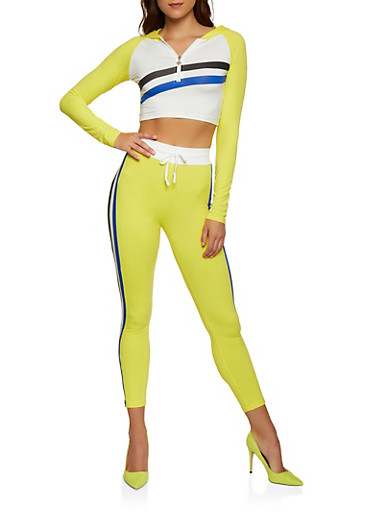 Hooded Color Block Striped Crop Top,MUSTARD,large