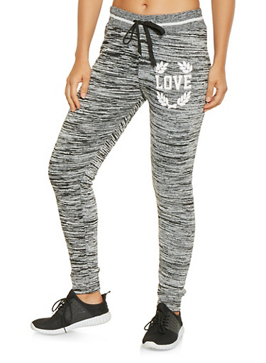 Love Graphic Sweatpants,BLACK,large
