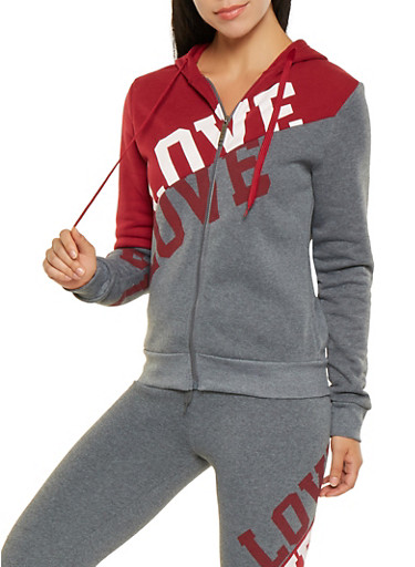 Love Graphic Color Block Sweatshirt,BURGUNDY,large