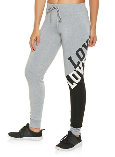 Love Graphic Color Block Sweatpants,BLACK,large