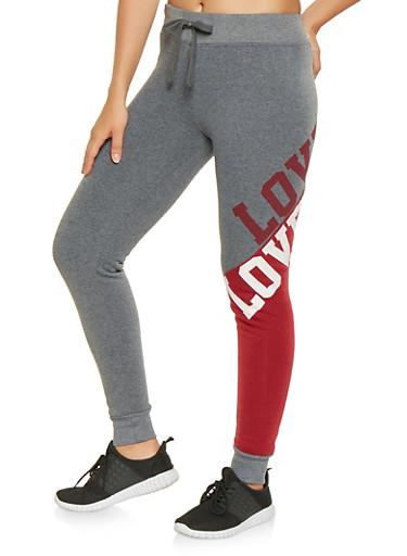 Love Graphic Color Block Sweatpants,BURGUNDY,large