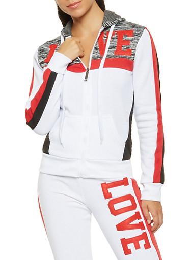 Love Graphic Hooded Sweatshirt,WHITE,large