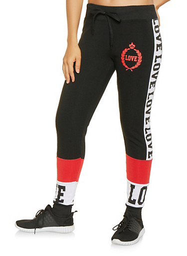 Love Graphic Color Block Sweatpants,BLACK/RED,large