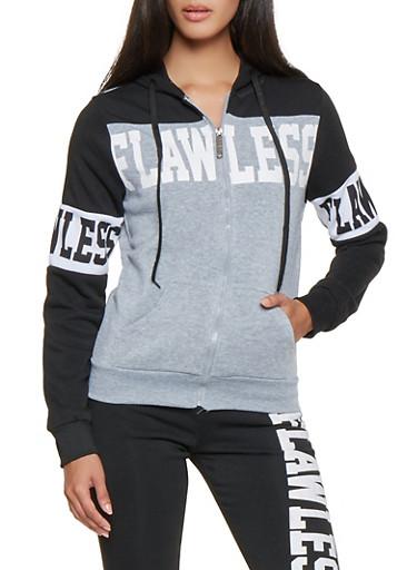 Graphic Color Block Zip Front Sweatshirt,BLACK,large