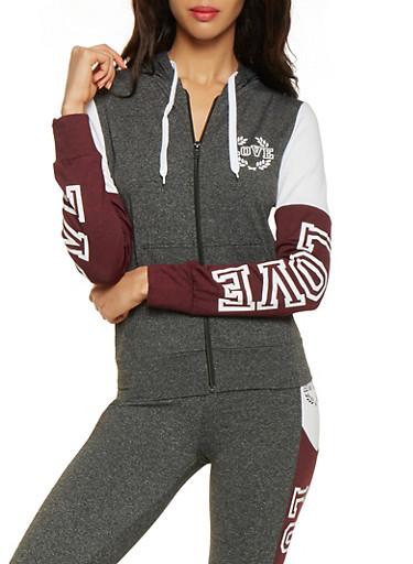 Love Graphic Color Block Zip Up Sweatshirt,BLACK,large