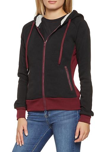 Color Block Hooded Zip Up Sweatshirt,BLACK,large