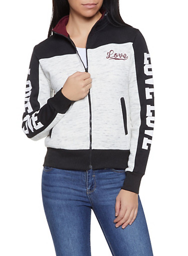 Love Graphic Zip Up Sweatshirt,OATMEAL,large