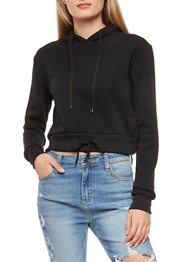 Cropped Pull Over Hooded Sweatshirt,BLACK,large