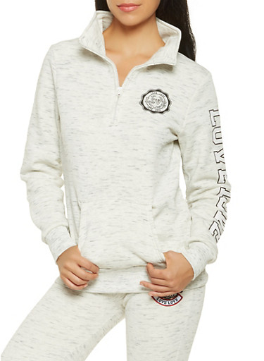 Half Zip Love Graphic Sweatshirt,OATMEAL,large