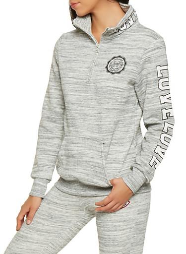 Half Zip Love Graphic Sweatshirt,GRAY,large