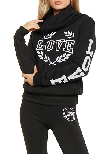 Love Graphic Funnel Neck Sweatshirt,BLACK,large
