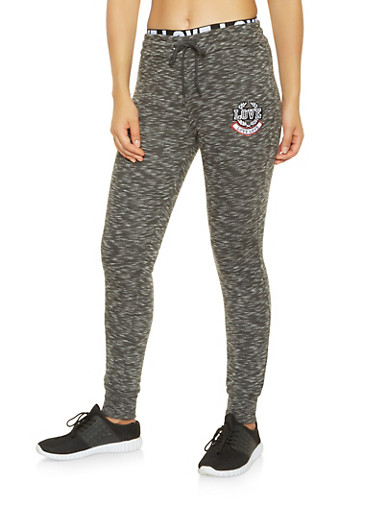 Marled Love Graphic Sweatpants,CHARCOAL,large