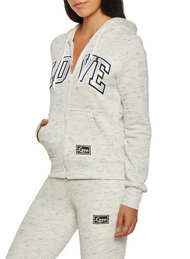 Marled Love Graphic Zip Front Sweatshirt,OATMEAL,large