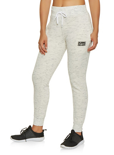 Love Graphic Sweatpants,OATMEAL,large