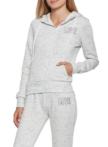 Love Graphic Zip Up Sweatshirt,OATMEAL,large