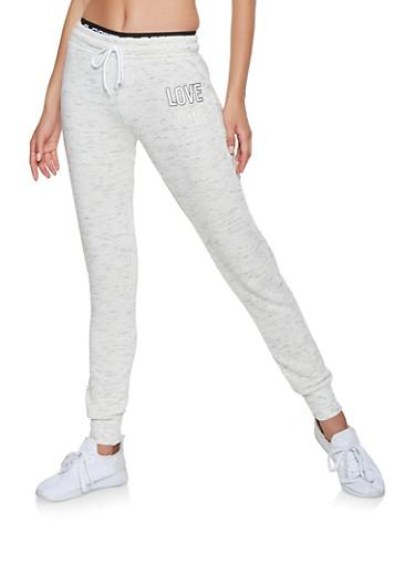 Love Graphic Sweatpants,OATMEAL,large